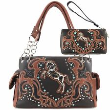 Item 1 Justin West Rustic Horse Turquoise Stone Stud Fl Conceal Carry Handbag Purse