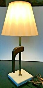 Small-Teak-Metal-Marble-Table-Lamp-Vintage-Mid-Century-Modern-Plastic-Shade