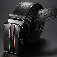 KS Mens Black Genuine Leather Automatic Auto Steel Buckle Waist Strap Belts