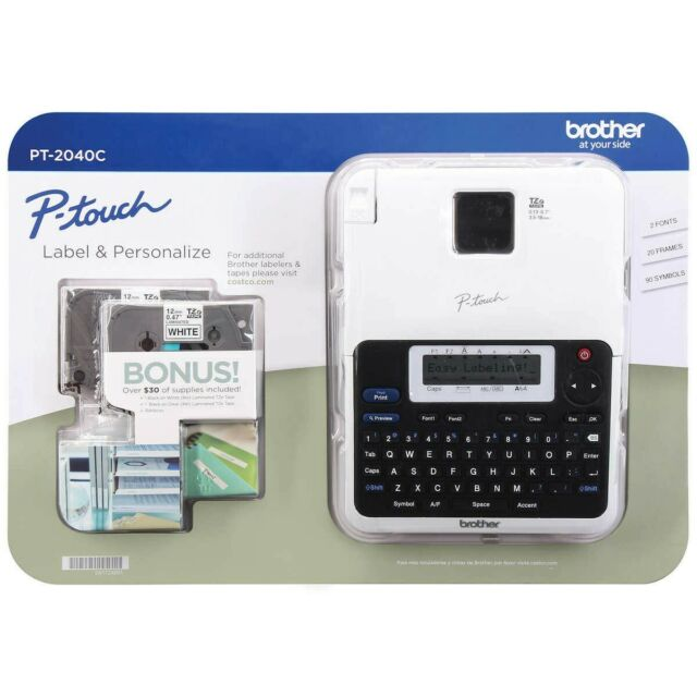 Brother P-Touch Label Maker Printer PT-2040C W/ 2 Tapes 6 AA Batteries Combo New