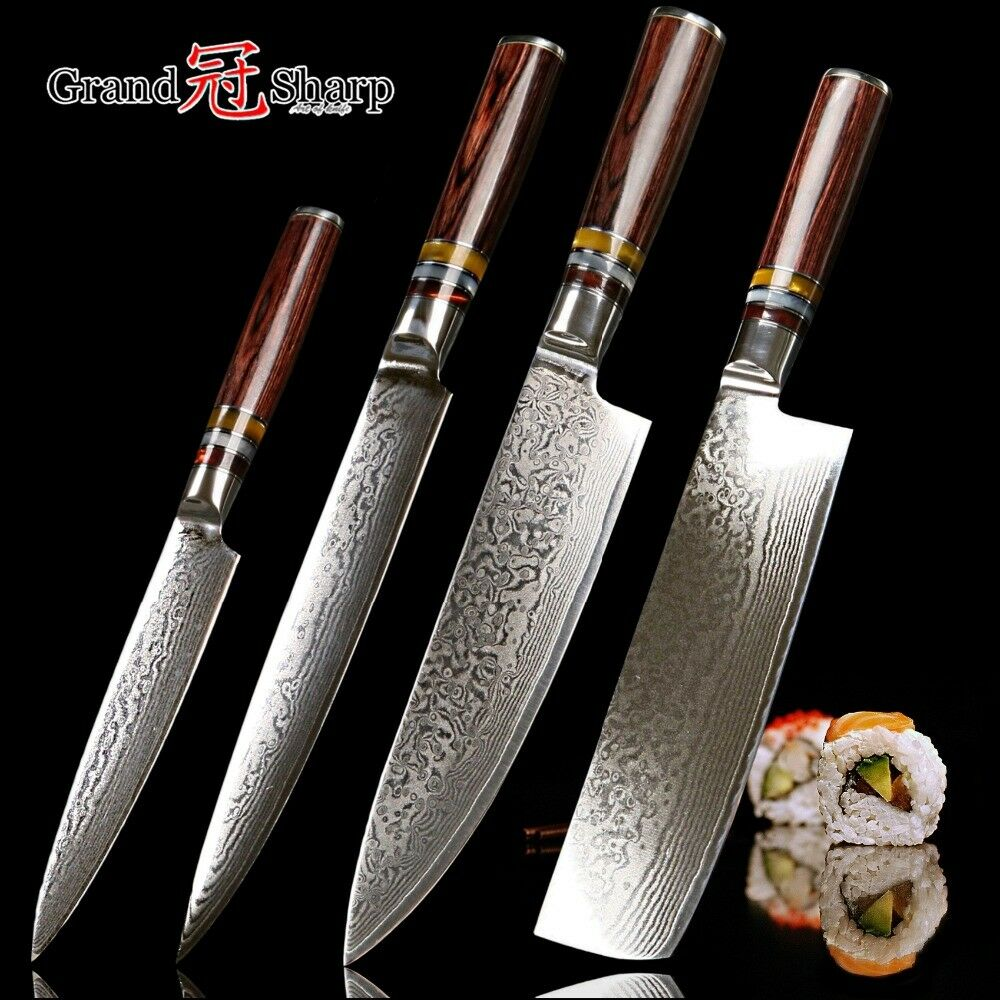 GRANDSHARP Knife Set 4 Pcs Chef Slicing Japanese Damascus Steel Kitchen Knives