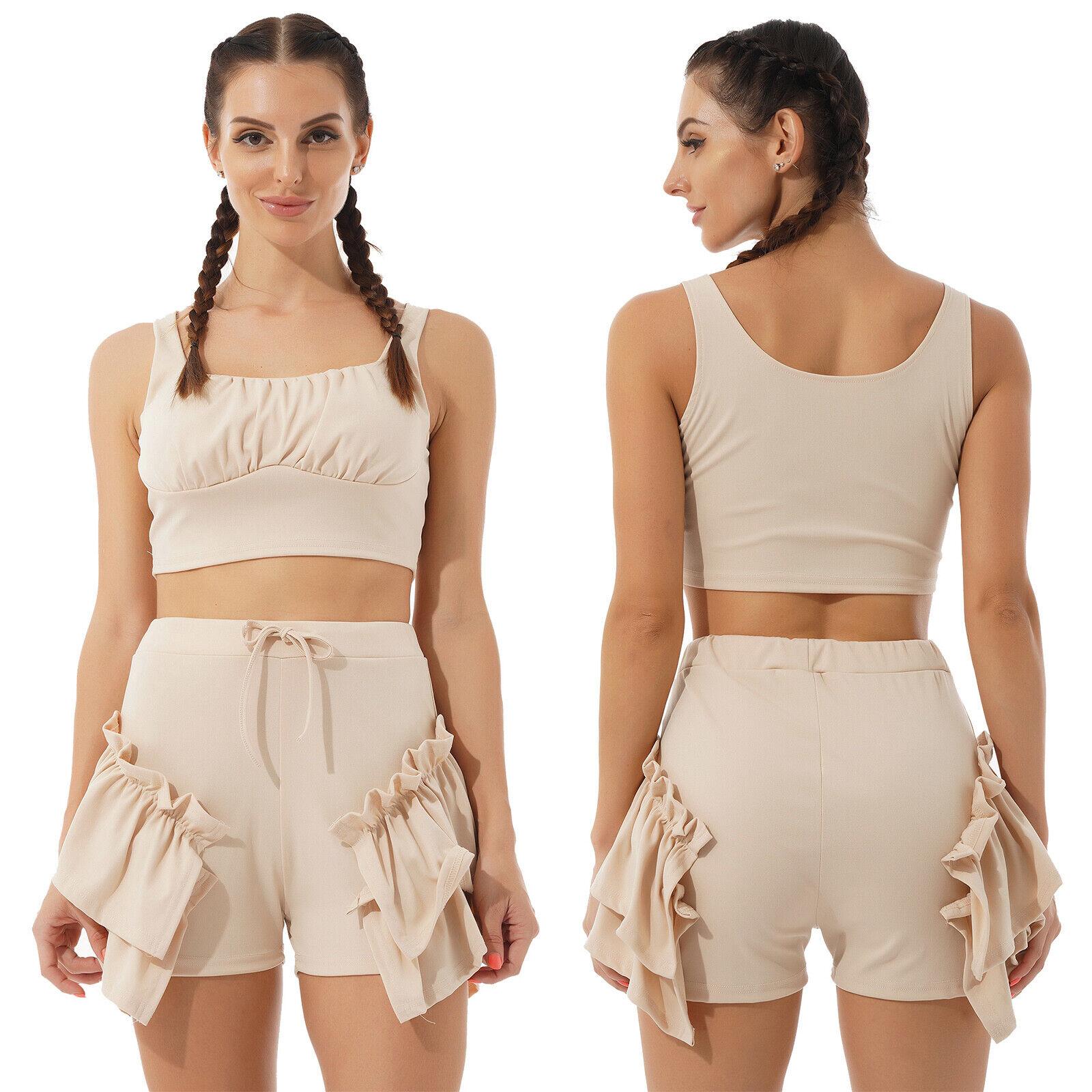 2 Pcs Damen Sommerkleidung Set Tank Top Shorts mit Rüschen Hosen Anzug Gym Sport