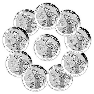 Lot of 10 - 2016-P Australia $1 1 Troy Oz Silver Kookaburra In Mint Cap SKU38014