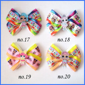 """L.O.L Doll Rainbow Baby 20 BLESSING Girl 4.5/"""" Two Tone Wing Hair Bow Clip C"""