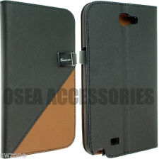 Para Samsung Galaxy Note Ii 2 N7100 Cuero Funda Protectora Skin Flip Bolsa Posterior Sw