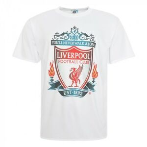 3a99643c739 LIVERPOOL FC WHITE CREST SHIRT Large BNWT Features a full colour LFC ...