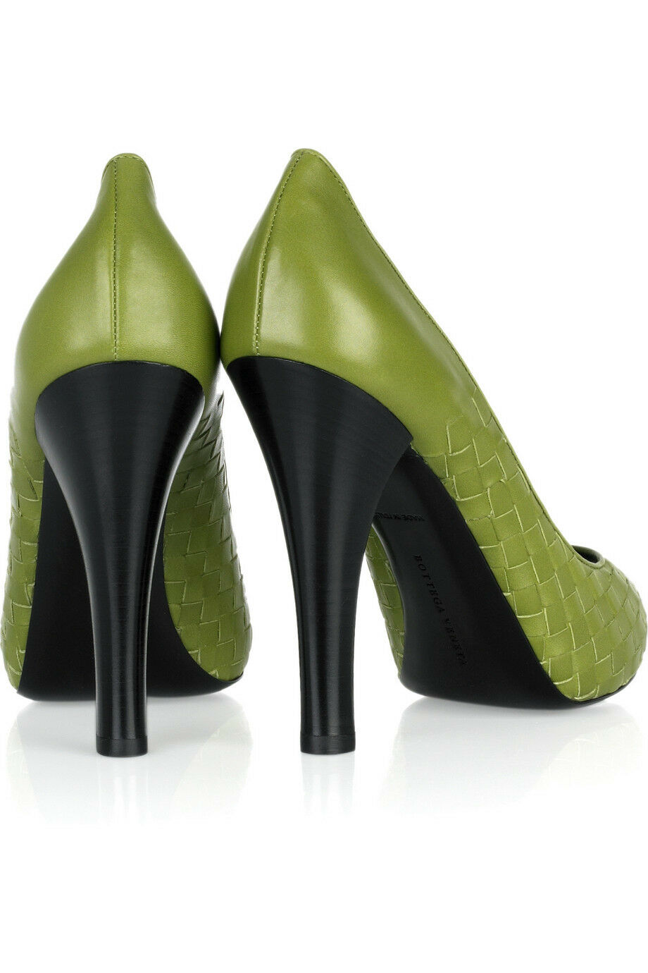 Bottega Veneta intrecciato Bout Ouvert Leaf Leaf Leaf vert Pump chaussures EU40.5 UK7.5 US10.5 Neuf dans sa boîte b327bc
