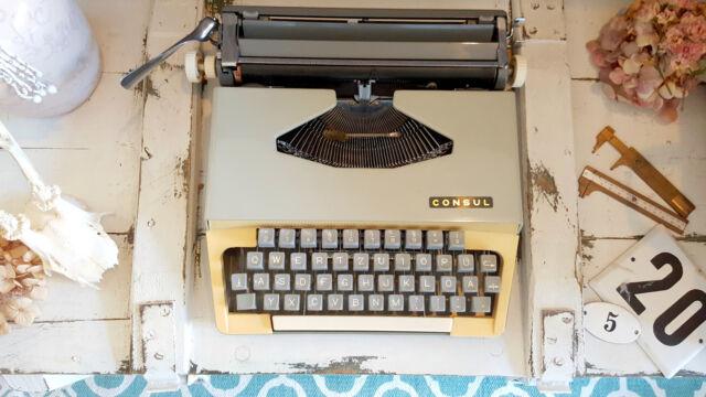Vintage Consul 1532 Reise Schreibmaschine typewriter rockabilly gelb 60er Koffer