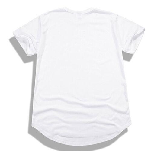 Men Short Sleeve Basic Tee Long T-Shirt Slim Extended Casual Longline Tops Shirt