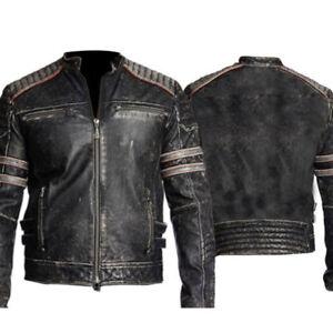 Men-039-s-Biker-Vintage-Cafe-Racer-Motorcycle-Retro-Black-Distressed-Leather-Jacket