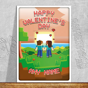 Personalised Valentine S Day Card Sunset Minecraft Themed