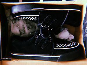 New TUK Creeper Sneaker Black Suede Punk Goth Emo Size US Men 10 / Women 12
