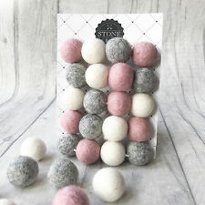 Stone and Co Felt Ball Pom Garland, 20x 2.5cm balls in Dusty Pink, Grey & White