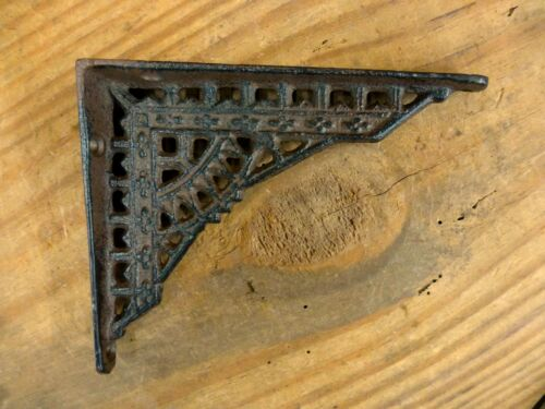 "2 SMALL BROWN ANTIQUE-STYLE 5/"" CAST IRON SHELF BRACKETS garden rustic EASTLAKE"