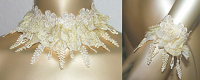 Halsband Kropfband Choker zur Hochzeit Spitze champagner 85 mm Armband Neu