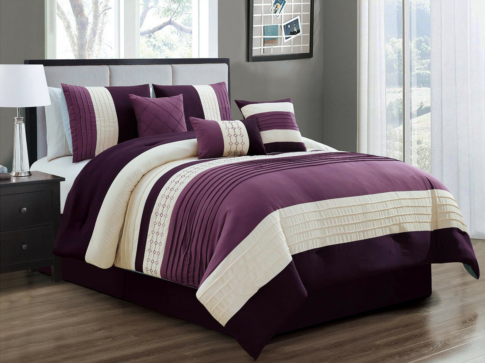 11-Pc Yuma Diamond Southwest Comforter Curtain Set Purple Lavender Beige Queen