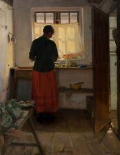 The maid in the kitchen Anna Ancher Dienstmädchen Fenster Küche Dorf B A3 00524