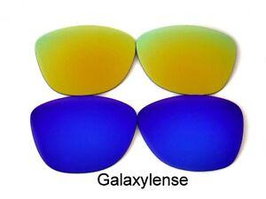 Galaxy-Lentes-De-Repuesto-Para-Oakley-Frogskins-gafas-de-sol-azul-y-dorado