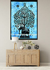 INDIAN WALL HANGING TAPESTRY Elephant Tree of Life Tapestries Hippie Handmade