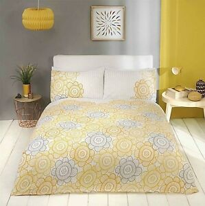 Sunflower Duvet Quilt Cover Yellow Grey Stripe