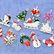 W09 50 Mixed Silver Plated Enamel Christmas Charms Pendants