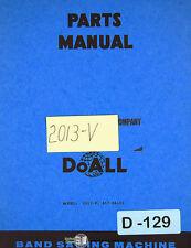 Doall 2013 V Contour Band Saw Parts Lists Manual 1988
