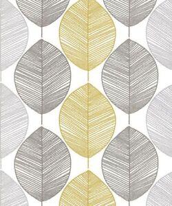 Arthouse Imagine Scandi Paillete Feuille Gris Jaune Papier Peint