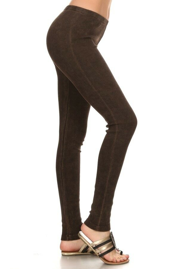 NWT Chatoyant Mineral Washed Thermal BROWN Leggings Great Quality Slimming SMALL