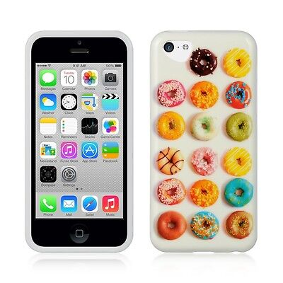 Cute Donuts TPU IMD Gel Skin Cover Case for Apple iPhone 5C USA Shipping