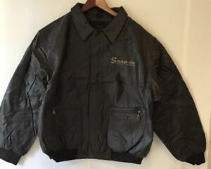 Snap-On-Leather-Bomber-Jacket-Mens-XL-Dark-Brown-Quilted-Full-Zip-BIN-SS
