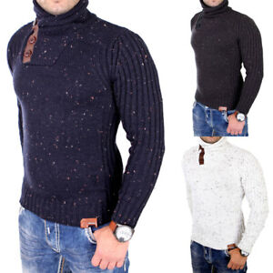 billiger Verkauf heiße Produkte absolut stilvoll Details zu Tazzio Strickpullover Herren Winter Stehkragen Grobstrick  Pullover TZ-419 Neu