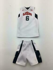 meet 569be f463c Details about Custom 1/6 USA TEAM LeBron James jersey 6 23 NBA TOYs home  white LAKERS