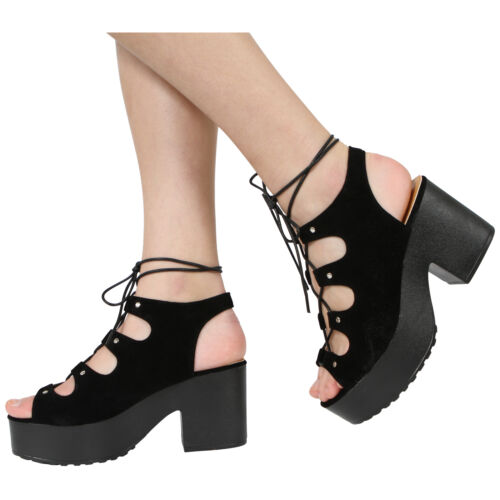 GIRLS KIDS CHILDRENS PLATFORM CUT OUT BLOCK CLEATED HEEL LACE UP SANDALS SHOES