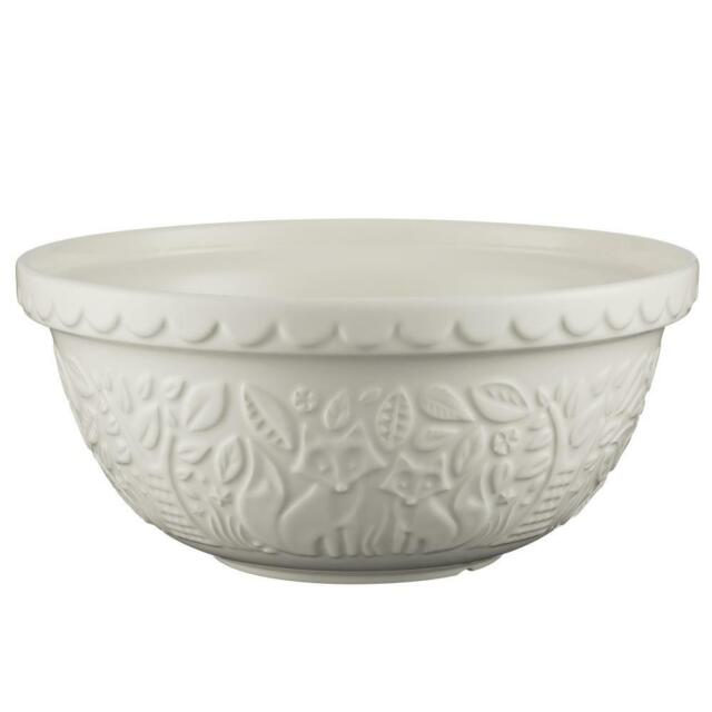 MASON CASH IN THE FOREST EMBOSSED FOX LEAF CREAM EARTHENWARE MIXING BOWL 30CM
