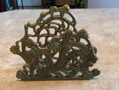 Brass Teleflora Scrollwork Floral Napkin Holder Mail Holder