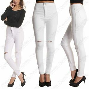 NEW LADIES RIPPED KNEE SKINNY JEANS WOMENS HIGH WAISTED RIP CUT ...