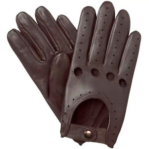 NEW-MEN-039-S-CHAUFFEUR-REAL-LAMBSKIN-SHEEP-NAPPA-LEATHER-DRIVING-GLOVES-BROWN