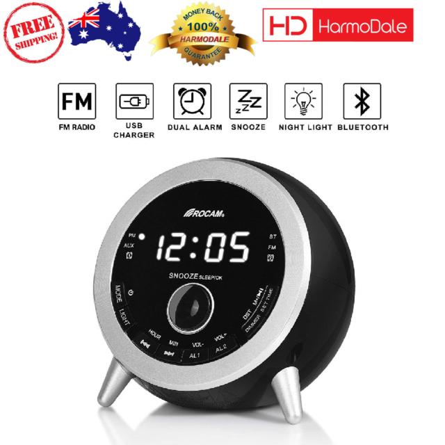 4daa03840bb Rocam Bluetooth Digital Alarm Clock FM Radio USB Charger Sleep Timer Bedroom