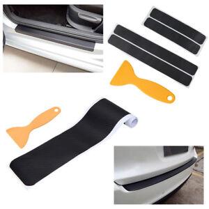4x-Einstiegsleisten-Schutzfolie-Stossstangenschutz-Ladekantenschutz-Kohlefaser