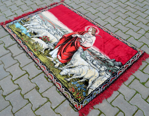 """The Lord Is My Shepherd Jesus Christ Tapestry 45/"""" x 65/"""" Wall Rug 115 x 166 cm"""