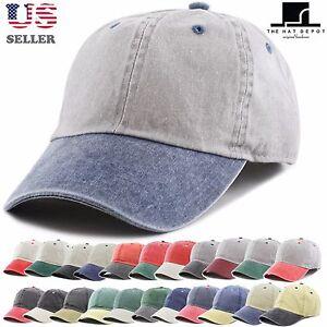 9000c8ec3fb Details about Pigment Dyed Two Tone Low Profile Cotton Six Panel Baseball Cap  Hat 1201