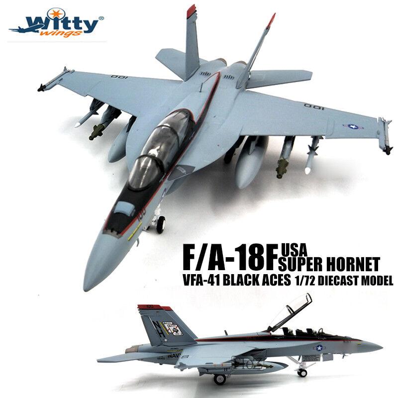 Witty USA F A-18F Super Hornet VFA-41 Negro Aces 1 72 Diecast modelo de avión