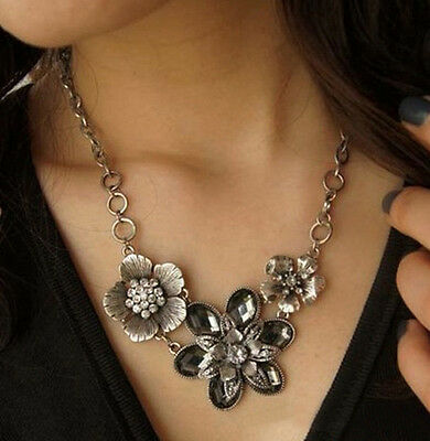 Fashion Women Bib Vintage Crystal Long Chain Pendant Statement Necklace Jewelry
