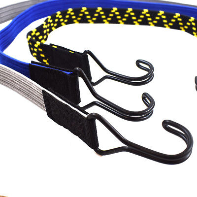 FLAT LUGGAGE ELASTICS WITH HOOKS BUNGEE STRAPS SHOCK CORD GREY BLUE BLACK YELLOW