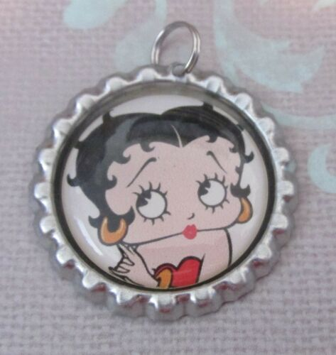 Set of 4 BETTY BOOP Bottle Caps Bling Charms with Split Rings Gift Craft DIY