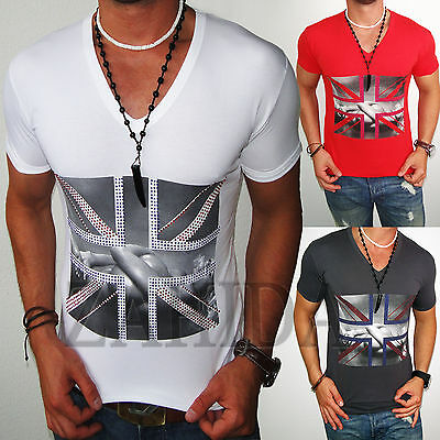 Re-Rock Herren T-Shirt UK England Great-Britain London Shirt Club Strass WOW NEU