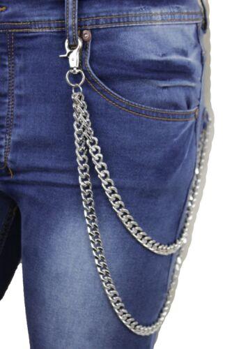 Men Wallet Chains Silver Metal Key Chain Rock Punk Biker 2 Strands Chunky Links