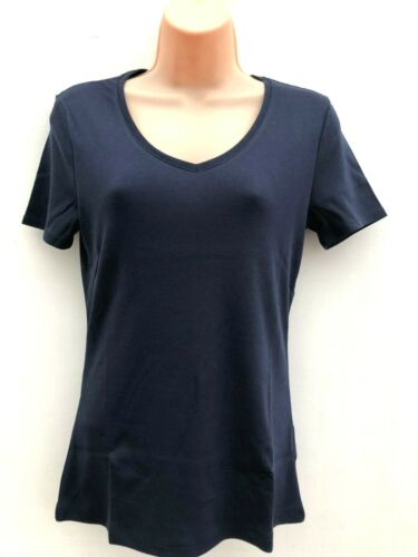 Ladies Ex M/&S V Neck T-Shirt Top Cotton Navy Blue or Green Free 1st Class Post