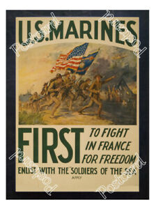 Historic-WWI-Recrutiment-Poster-U-S-Marines-first-to-fight-in-France-Postcard