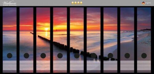Wallario Ordnerrücken selbstklebend für 9 breite Ordner Sonnenuntergang Strand